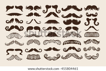 Black silhouette mustache. Mustache black hair and man mustache hipster set. Mustache retro curly black silhouette collection beard mustache. Mustache barber silhouette hairstyle - stock vector