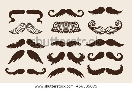Black silhouette mustache. Mustache black hair and man mustache hipster set. Mustache retro curly black silhouette collection beard mustache. Mustache barber silhouette hairstyle