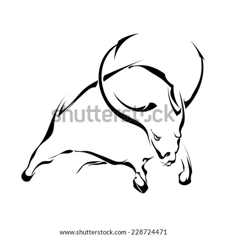 Black silhouette of a bull in a jump isolated on white background. Trademark farm. Vector illustration.