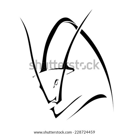 Black silhouette of a bull in profile isolated on white background. Trademark farm. Vector illustration. - stock vector