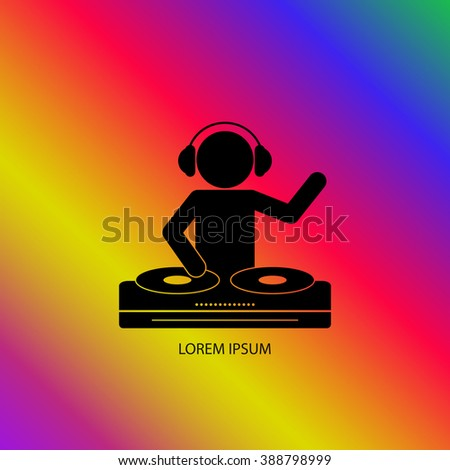 Black silhouette of a DJ wearing headphones and scratching a record on the turntable on the color background.   - stock vector