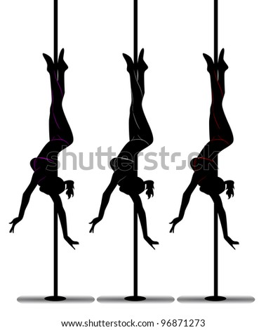 black silhouette of a girl dancing on a pole - stock vector