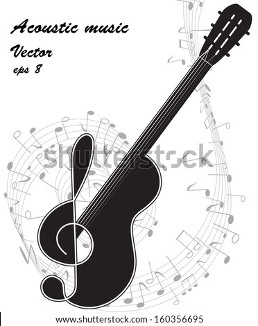 Black silhouette of a guitar and treble clef on the music notes background. Vector. eps 8. - stock vector