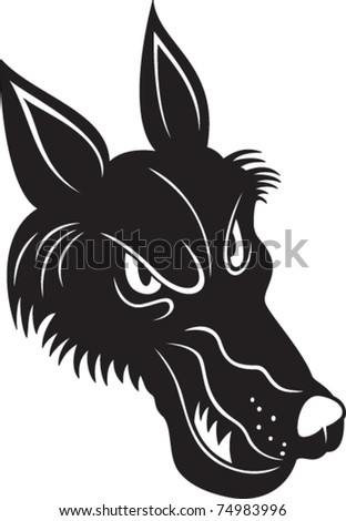 Black silhouette of a head of a wolf - stock vector