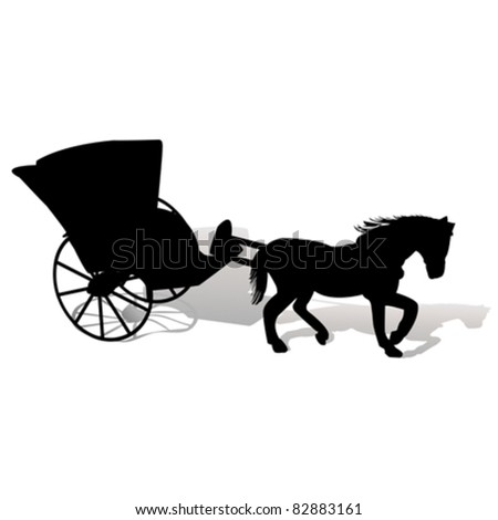Black silhouette of a horse with carriage on white backgrund - stock vector