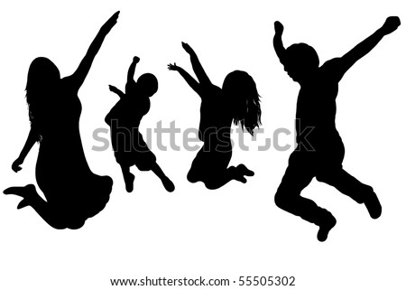 black silhouette of a jumping family - stock vector