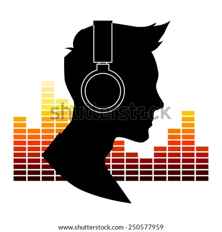 Black silhouette of a man with headphones on a background of the equalizer - stock vector