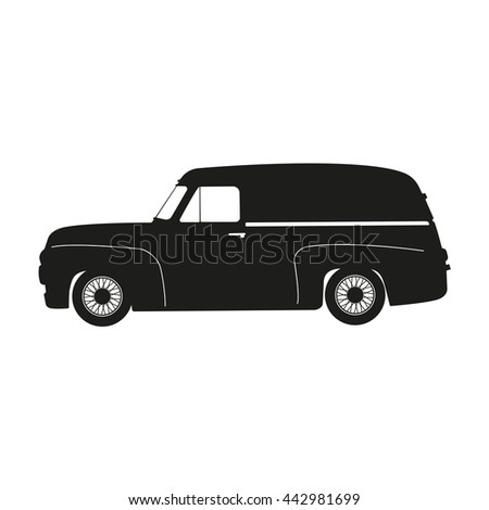 Black silhouette of a retro car on a white background . Vintage car. Vector illustration