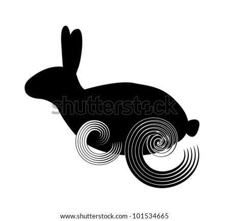 Black silhouette of a running rabbit isolated on the white background