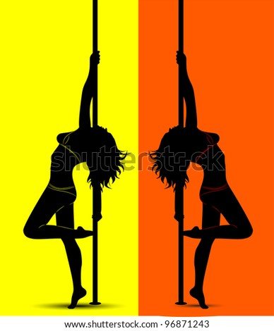 black silhouette of a sexy girl dancing with a pole - stock vector
