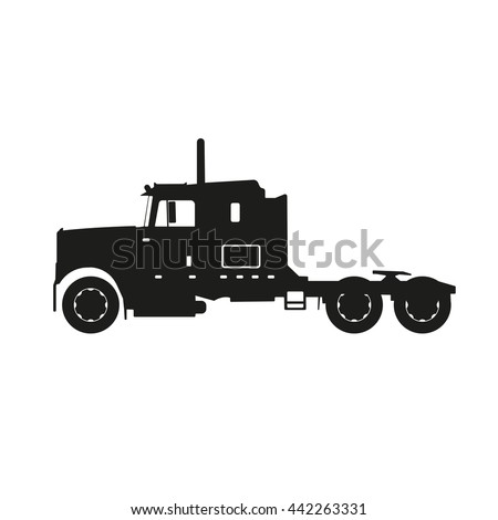Black silhouette of a tractor truck on a white background. Vector illustrator - stock vector