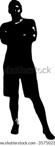 Black silhouette of a young man in full growth, whose hands are crossed on his chest, on a white background in vector format. - stock vector