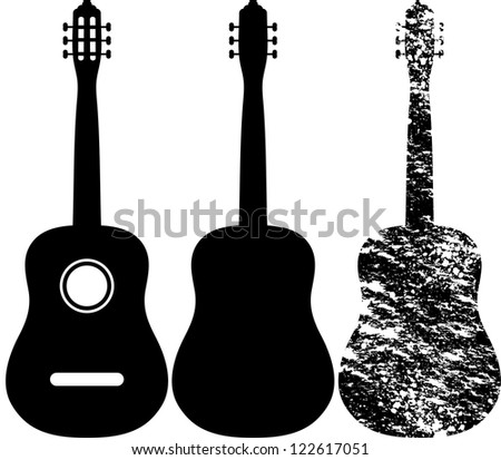 Black silhouette of acoustic guitar - stock vector