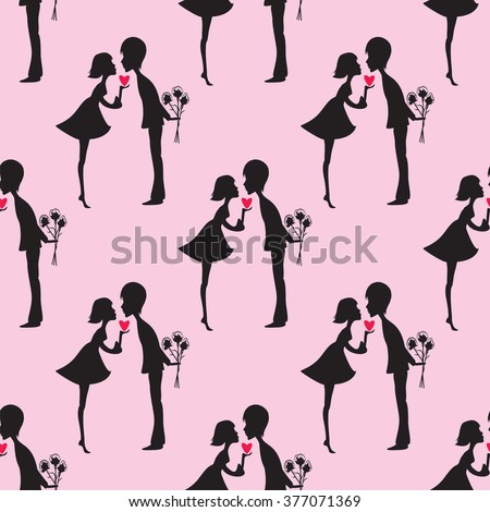 black silhouette of boy and girl heart love pattern bouquet of flowers on a pink background vector - stock vector