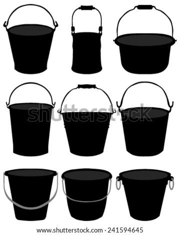 Black silhouette of buckets, vector - stock vector