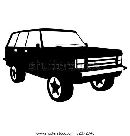 black silhouette of city jeep, vector illustration