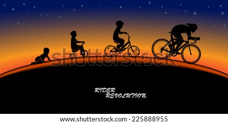 Black silhouette of creeping kid , tricycle rider , kid bicycle rider and race bicycle rider on sunset horizon background.(EPS10 art vector) - stock vector