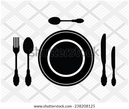 Black silhouette of cutlery on checkered tablecloth, vector