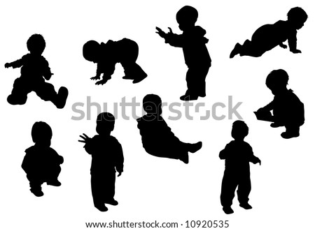 Black silhouette of different baby poses - stock vector