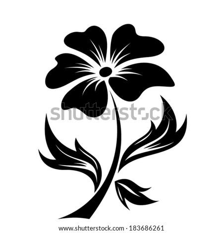 Black silhouette of flower. Vector illustration. - stock vector