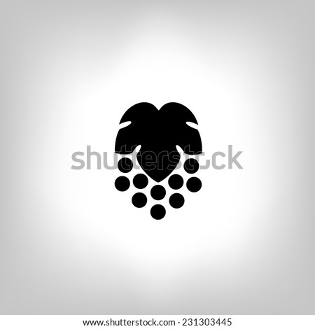 Black silhouette of grape. Vector illustration. - stock vector