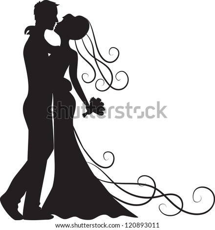 Black silhouette of kissing groom and bride - stock vector
