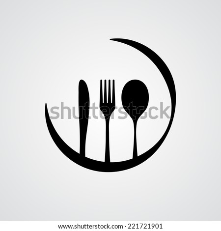 Black silhouette of knife, fork and spoon. eps10