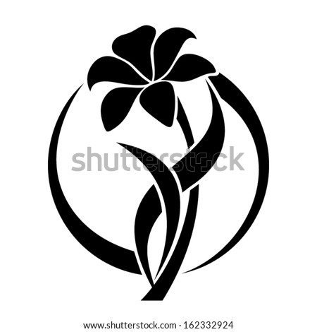 black silhouette lily flower vector illustration stock vector, Beautiful flower