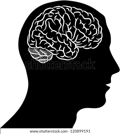 Black silhouette of man head with brain - stock vector