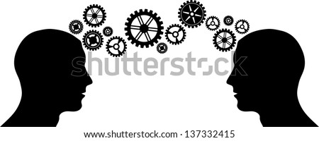 Black silhouette of man head with some gears - stock vector