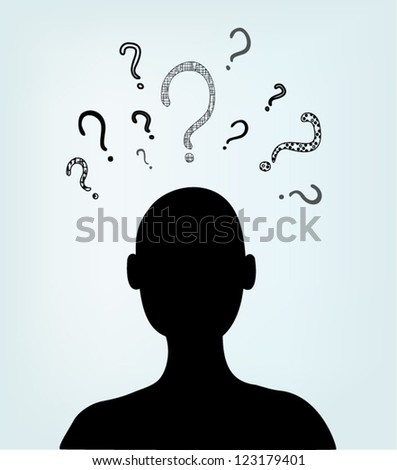 Black silhouette of man with question marks - stock vector