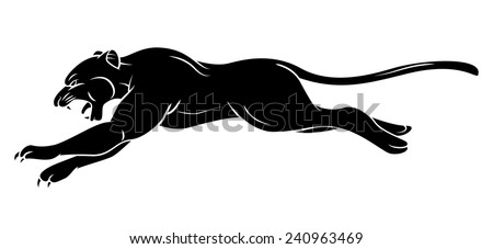 Black Silhouette Of Panther - stock vector