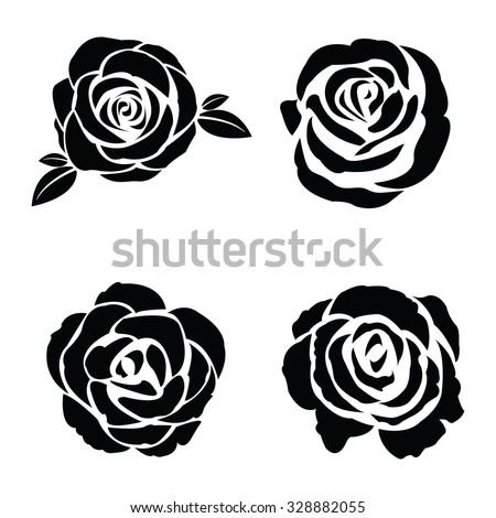 Black silhouette of rose set - stock vector
