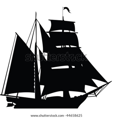 Black silhouette of sailing ship - stock vector