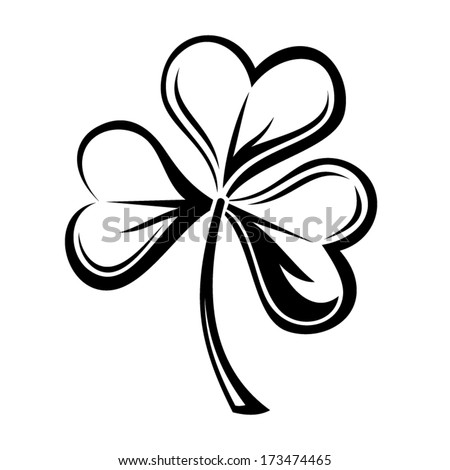 Black silhouette of shamrock. Vector illustration. - stock vector