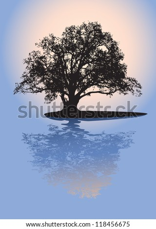 Black silhouette of single beautiful big oak tree with reflection on sunrise. Vector. - stock vector