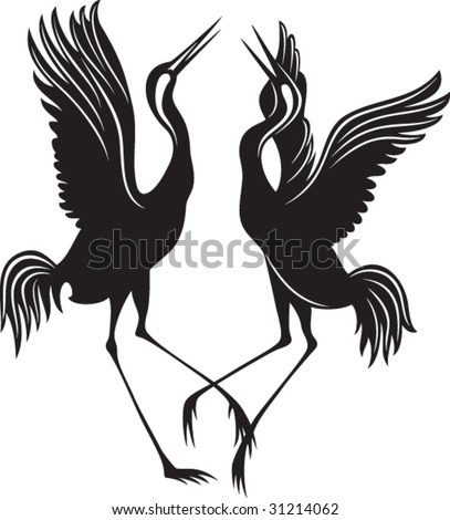 Black silhouette of the couple of storks - stock vector