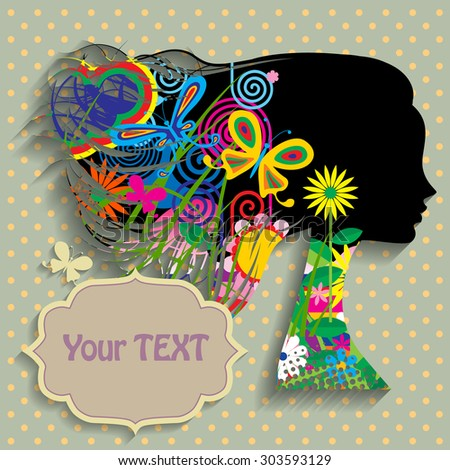 Black silhouette of the head of girl in profile with fluttering hair with fullcolor decorative elements, flowers and butterflies. Vector illustration - stock vector