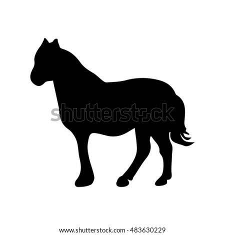 Black silhouette of the horse, abstract horse picture on white background, vector illustration