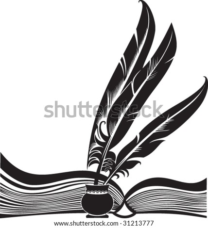 Black silhouette of the opened book and three quills - stock vector