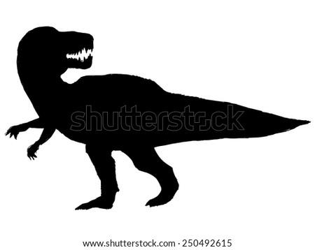 black silhouette of tyrannosaurus - stock vector