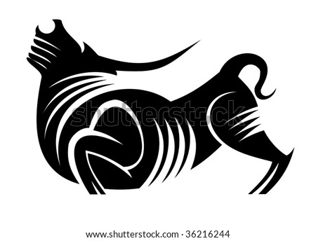 Black silhouette of wild bull - abstract emblem or logo template - stock vector