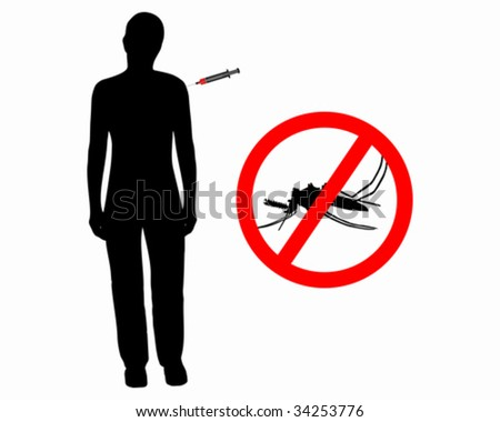 Black silhouette of woman gets an immunization - stock vector