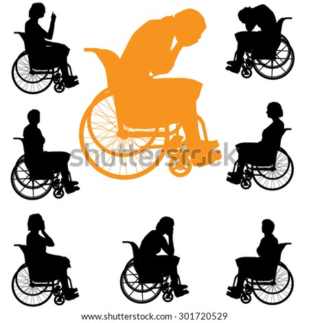Black silhouette of womans on white  background.