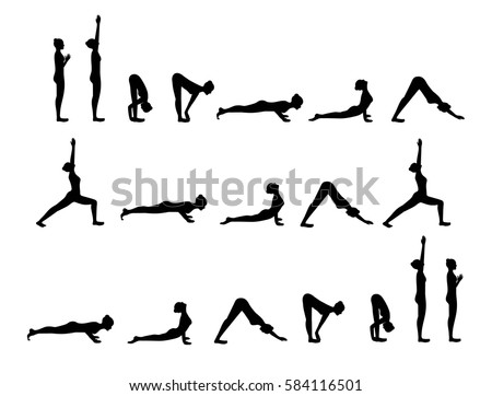Black Silhouette Of Yoga Postures Sun Salutation Woman Doing Exercises Isolated On White