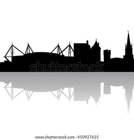 Black silhouette skyline of Cardiff. UK. Vector illustration - stock vector