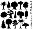 Black silhouette various of trees on a white background - vector - stock vector