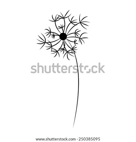 black silhouette vector dandelion isolated on white background - stock vector