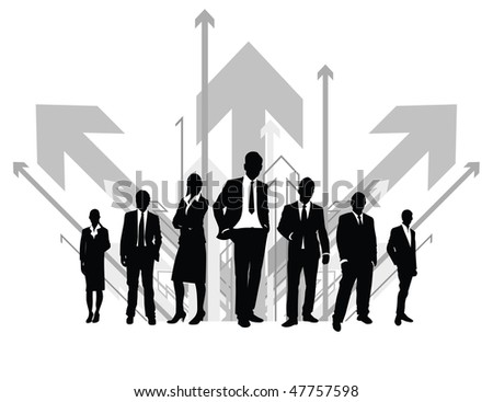 black silhouette with arrow background - stock vector