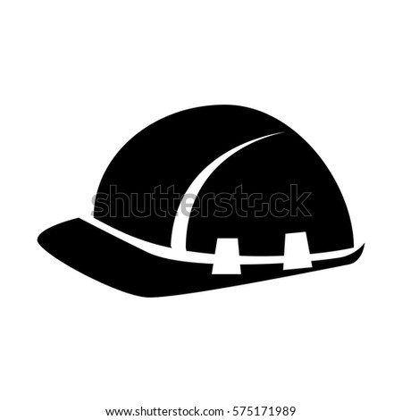 black silhouette worker helmet icon
